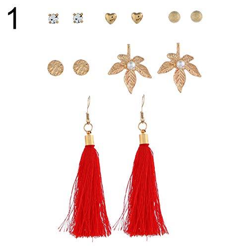 6 Pairs Women Long Tassel Drop Faux Pearl Rhinestone Hook Stud Hoop Earring Set 1# ()