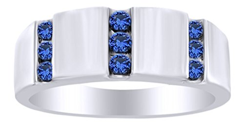 Round Cut Simulated Blue Sapphire Men's Hip Hop Band Ring In 14K White Gold Over Sterling Silver (1 cttw) Ring Size-10 by AFFY