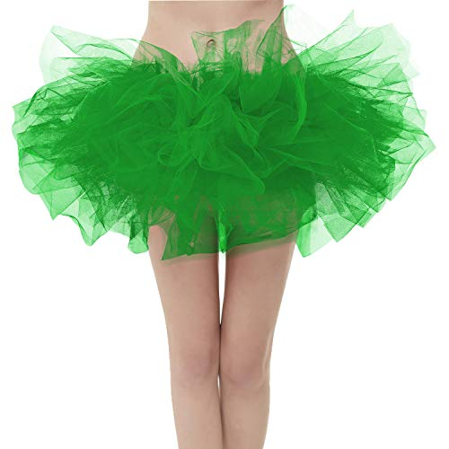 Mardi Gras Tutu (Girstunm Women's Classic Layers Fluffy Costume Tulle Bubble Skirt Grass-Green-Standard)