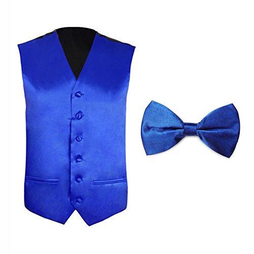 TopTie Tuxedo Wedding Dress Vest & Bow Tie Set for Men-RoyalBlue-M