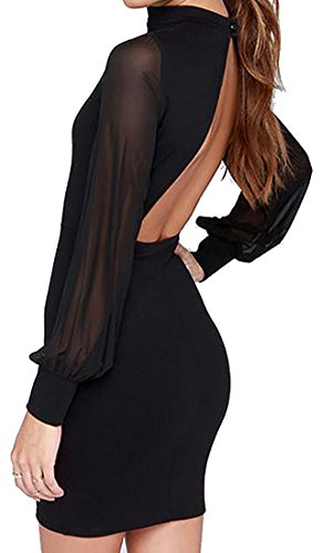 Sleeve Short Backless Bodycon Solid Black Dress Womens Long Cruiize PwTxqpEA1g