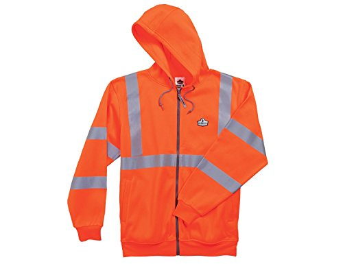 GloWear 8392 ANSI High Visibility Reflective Zipper Hoodie Sweatshirt, Large, (Orange Thermal Lined Zipper Hooded)