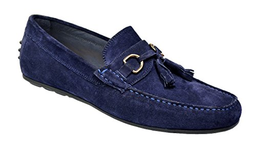 Calzoleria Toscana Men's Genuine Suede Leather Slip-On Loafer Shoes 2907 - Made in Italy, Navy Blue, 10 M