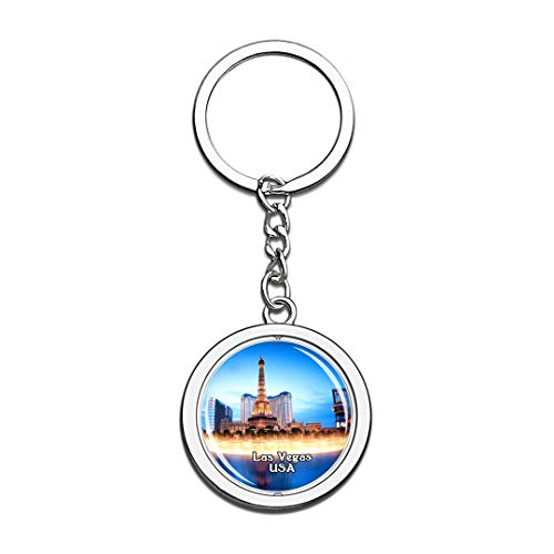 USA United States Keychain Fountains of Bellagio Las Vegas Key Chain 3D Crystal Spinning Round Stainless Steel Keychains Travel City Souvenirs Key Chain Ring]()