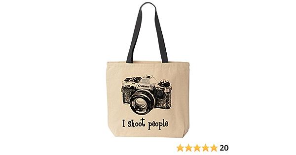 I Shoot People Black Organic Cotton Slouch Bag