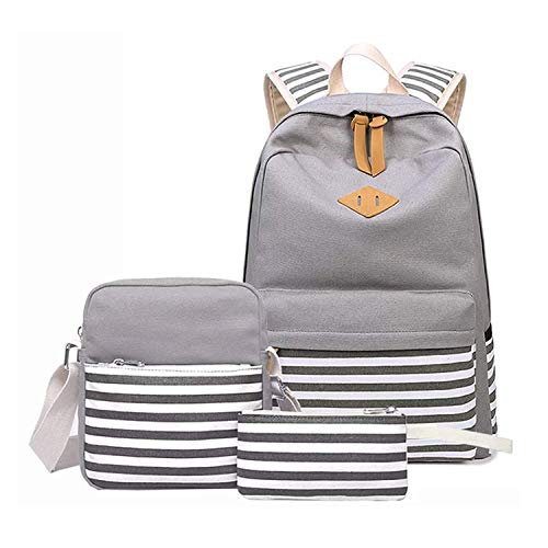 Boys Daypack Grey Cotton Casual Shoulder Canvas School Beige Bag Teens for 27 Backpack Girls vwZdqRw1