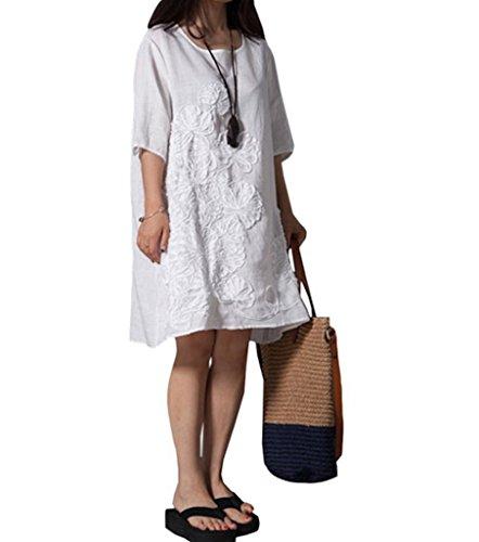 かわいい花柄モチーフ刺繍コットンワンピース半袖五分丈シンプルおしゃれチュニックひざ丈肌触りの良い綿麻素材(ホワイトL)