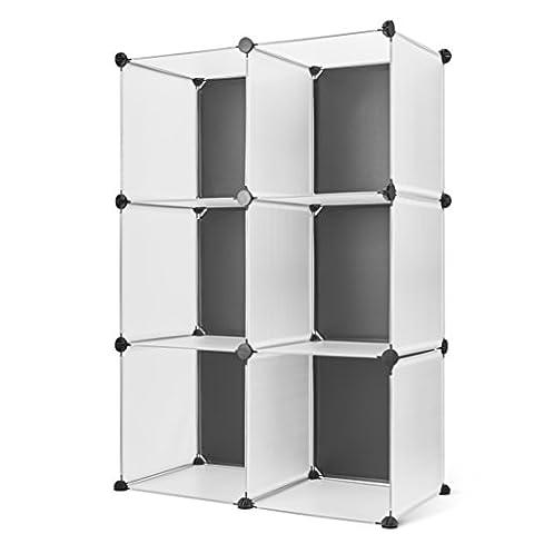 Titan Mall 3-tier Storage Cubes Closet 6-Cube Cabinet Organizer DIY Modular BookShelf (Black+White) - Modular Office Storage