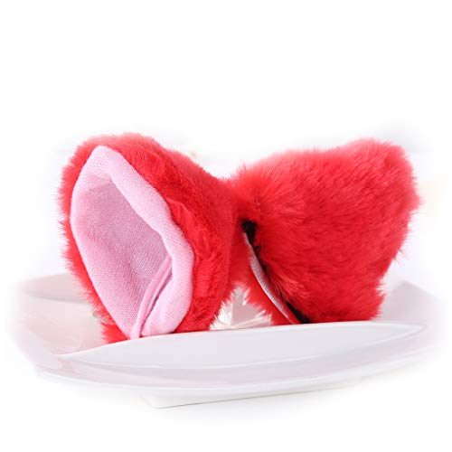 Cat Fox Ears Long Fur Hair Headband Cosplay Party Costume Red