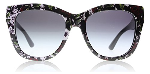 D&G Dolce & Gabbana Women's 0DG4270 Square Sunglasses, Top Print Rose/Black/Grey Gradient, 55 - Cat Eye D&g Sunglasses