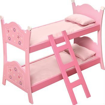 Child's Blossoms & Butterflies Doll Bunk Beds with Ladder by Badger (Maple Doll Bed)
