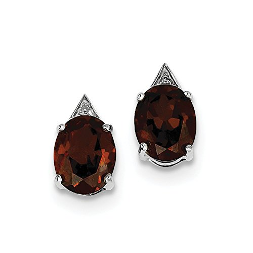 Top 10 Jewelry Gift Sterling Silver Rhodium Garnet & Diamond Post Earrings