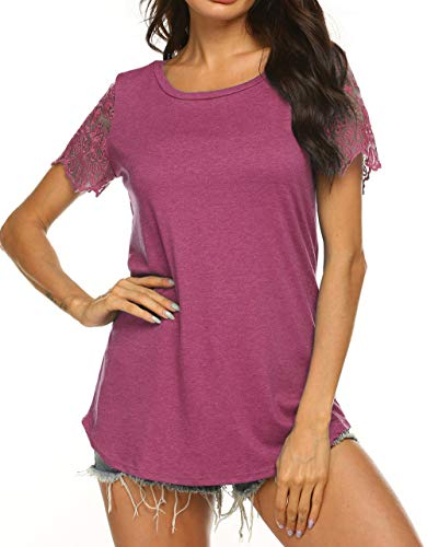Lovely Lace Tee - Naggoo Women's Casual Short Sleeve Tops Scoop Neck Tunic Blouses Curved Hem T Shirts Wine Red, XXL