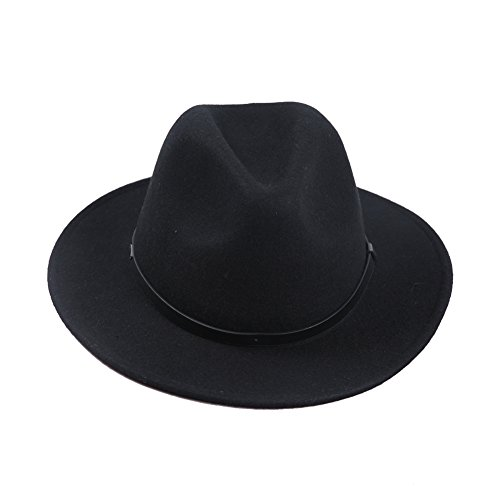Black Felt Fedora - Sedancasesa Fedora Hat Wool Felt Hats With Belt Short Brim Unisex Trilby Cap (L)