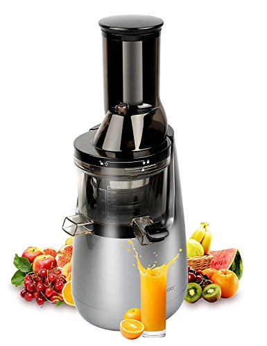Wide Chute Anti-Oxidation Slow Masticating Juicer with Quiet Motor and Low Speed System 250W Powerful & 40RPMs Whole Slow Juicer and Cold Press Juicer for More Nutritions and More Fresher (Gray)