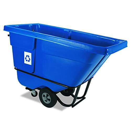 Blue Tilt Truck - Rubbermaid Commercial Recycling Tilt Truck, 1 /2 Cubic Yard, Blue, FG130573BLUE