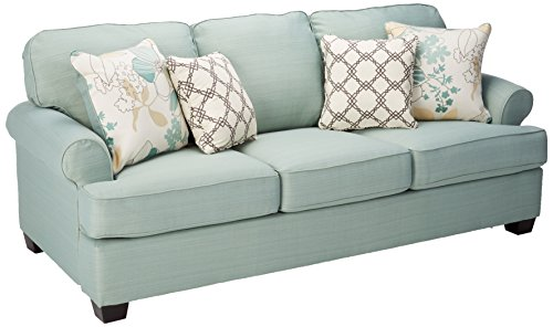 Ashley Furniture Signature Design – Daystar Sleeper Sofa with 4 Pillows – Queen Mattress – Seafoam