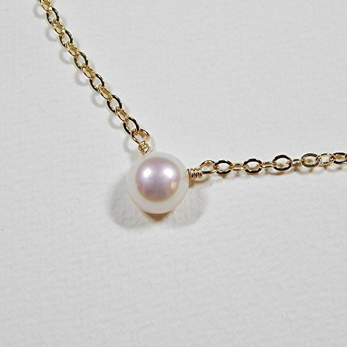 8mm Single Pearl Necklace Gold Filled Pearl Wire Necklace