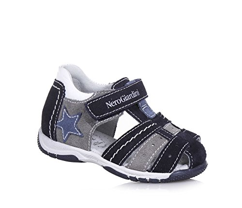 NERO GIARDINI - Blauer und grauer Schuh, aus Leder und Wildleder, made in Italy, mit Klettverschluss, Jungen