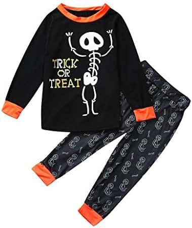 Halloween Matching Pajamas Outfits, Jessie storee Family Set Pumpkin Sleepwear Homewear Nightwear for Dad Mom Kid Unisex Boys Girls Pajama Skeleton Costume Outfit Pants T-Shirt Nightwear