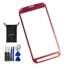 Sunways Outer Glass Lens Screen Replacement For Samsung Galaxy S5 Active G870 G870A(Red)With device opening tools