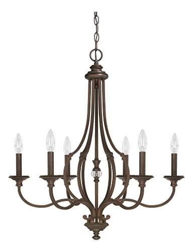 Cheap Burnished Bronze 6 Light 26in. Wide Chandelier from the Leigh Collection