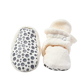 Zutano Cozie Fleece Baby Booties with Cotton Lining and Grippers, Unisex, For Infants, Babies, and Toddlers, Cream, 12M