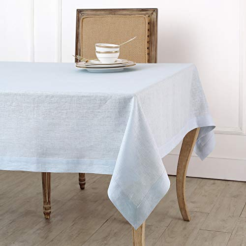 - Solino Home 100% Linen Tablecloth - 60 x 120 Inch Light Blue, Natural Fabric, European Flax - Athena Rectangular Tablecloth for Indoor and Outdoor use
