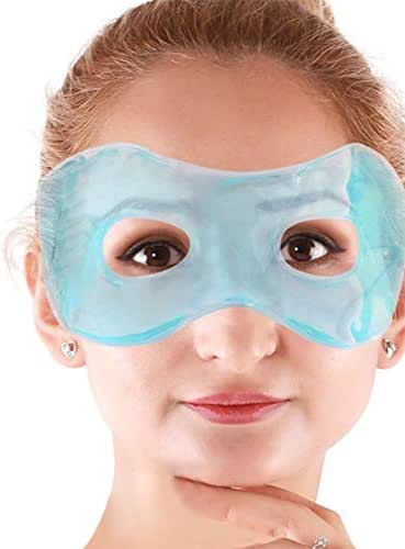 Gel Eye Mask with Eye Holes Hot Cold Compress Pack Eye Therapy, Cooling Eye Ice Masks Gel for Puffy Eyes, Dry Eyes, Headaches