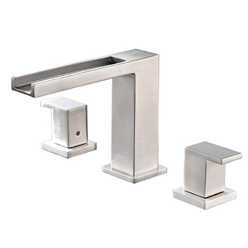 (Waterfall Stainless Steel Two Handle Three Hole Widespread Bathroom Faucet, Brushed Nickel Bathroom Sink Faucet With Hoses)