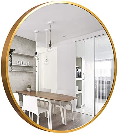 self Round Wall Mirror – 32 Large Wall Mounted Mirror, Aluminum Alloy Frame Round Mirror for Bathroom, Entry, Dining Room, Living Room – Gold