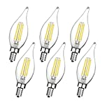 Boncoo E12 Candelabra LED Bulbs Dimmable 60W Equivalent LED Chandelier Light Bulbs 6W Daylight White 5000K 550LM CA11 Flame Tip Vintage LED Filament Candle Bulb with Decorative Candelabra Base 6 Packs