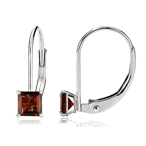 14k Garnet Jewelry Set (Bria Lou 14k White Gold Garnet Gemstone 5mm Square-Cut Leverback Drop Earrings)