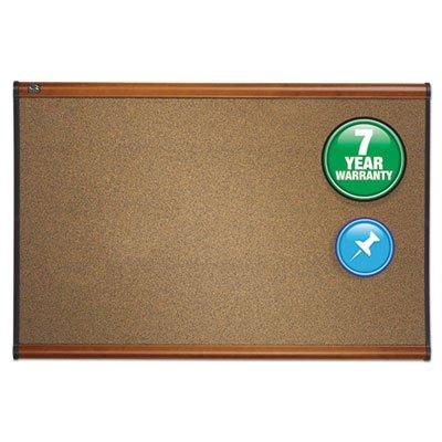 Prestige Bulletin Board, Brown Graphite-Blend Surface, 36 X 24, Cherry Frame