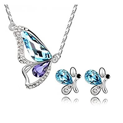 Habors 18K White Gold Plated Blue & Purple Austrian Crystal Butterfly Pendant Set for Women (Valentine Gift) Women's Pendants at amazon