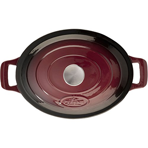 La Cuisine 4.75 Qt Enameled Cast Iron Oval Covered Dutch Oven, Ruby
