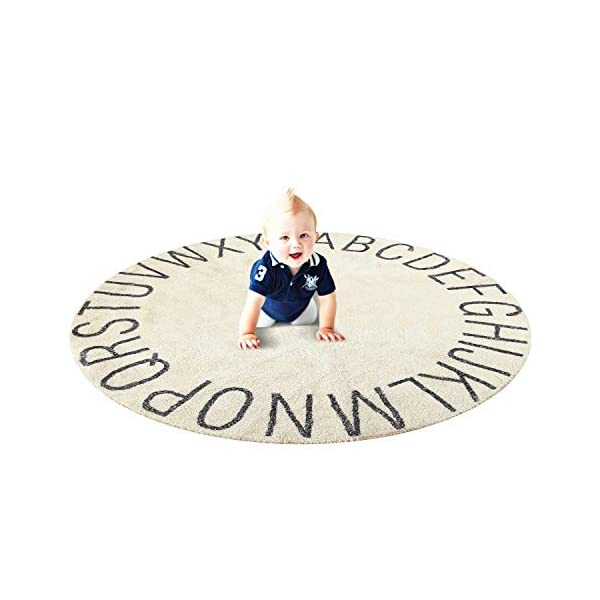 Ultra Soft Cotton Baby Kids Rug Educational ABC Alphabet Round Area Rug Toddler Game Playmat Diameter-47-inch Beige