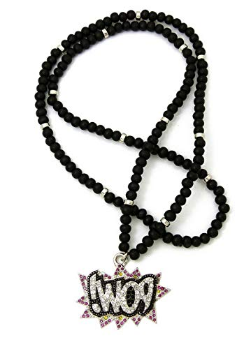 Werrox New ICED Out POW Pendant 30 Wooden Bead Chain Hip HOP Necklaces | Model NCKLCS - 5098 |