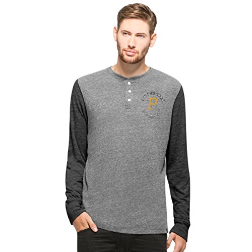 MLB Pittsburgh Pirates Men's Midfield Henley Long Sleeve Tee, Neps Grey, X-Large