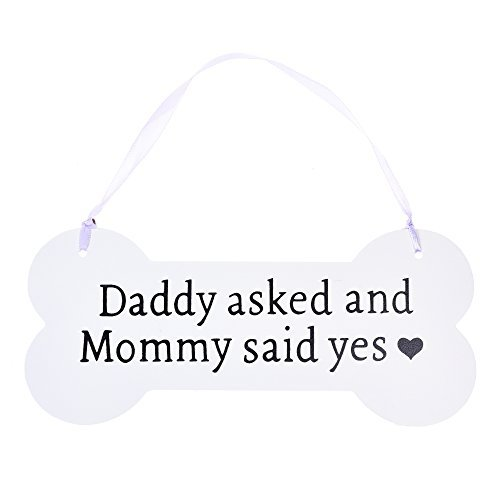 Beautyflier Wooden Bone Shaped Plaques Wedding Pet Hanging Chalkboard Sign Daddy Asked Mommy Said Yes