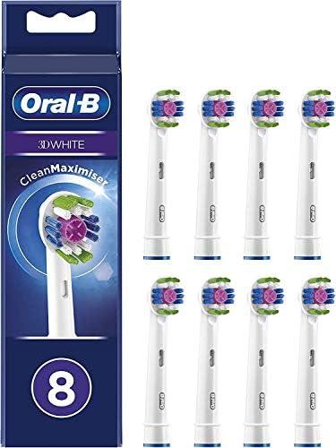 Oral-B 3D White Brossettes De Rechange CleanMaximiser x8, Format Spécial Boîte Aux Lettres, Recharge Originale Pour Brosse À Dents Électrique