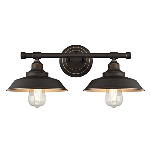Westinghouse Lighting 6354800 Iron Hill Two Light Indoor Wall Fixture, 2, Oil Rubbed Bronze
