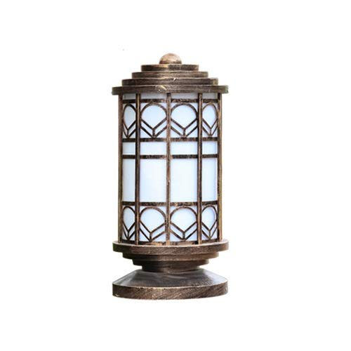 Marble Column Lamp - Pinjeer E27 Vintage Light Luxry Imitation Marble Column Lamp European Antique IP54 Waterproof Aluminum Pillar Light Courtyard Landscape Door Fence Decorative Post Light