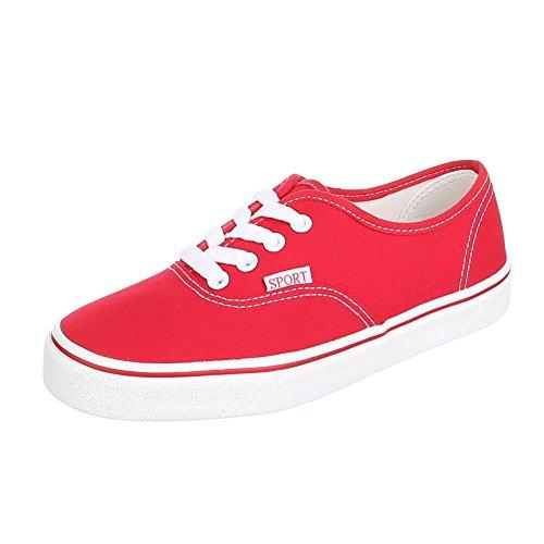 Ital-Design - Zapatillas de tela para mujer Rojo - rojo