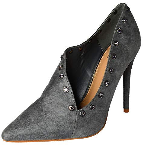 Womens High Heel Ankle Shoe Boots,Slip on Pointed Toe Heels, Smart Office Formal,Size 3-8 Grey