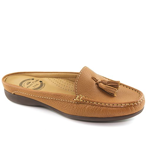 Driver Club USA Women's Austin Mule Tan Grainy Slip On 8 by Driver Club USA