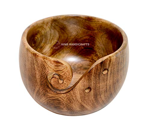 Premium Solid Dark Hardwood Crafted Wooden Portable Antique Copper Yarn Bowl Holder for Knitting Crochet 6 x 6 x 4 inch Christmas Gift Set | Hind Handicrafts