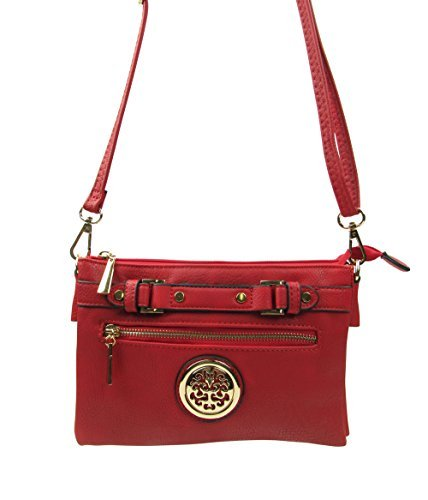 Buckle with Zipper Shoulder and Red Emblem Faux ARNY Crossbody Top Bag YxEqEPO