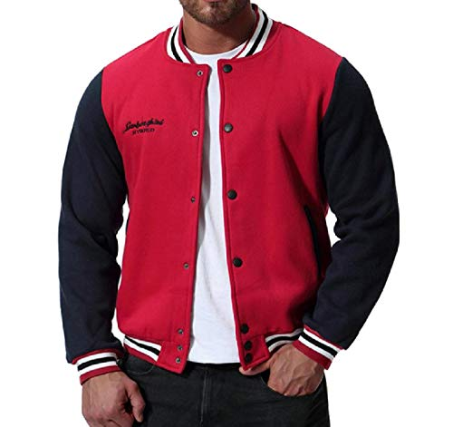 Red Fit MogogoMen Autumn Button Baseball Raglan Varsity Jacket Relaxed Hx1Cxq