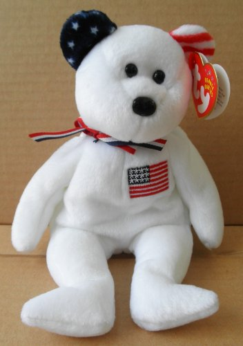 TY Beanie Babies America Bear Stuffed Animal Plush Toy - 8 1/2 inches tall - White with Red and White Stripe Right Ear and Blue and White Stars Left Ear - American Flag on (American Flag Teddy Bear)